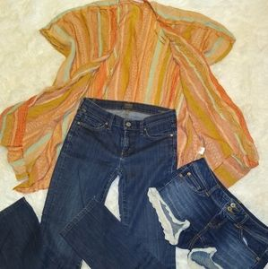 Boho outfit denim and shawl.